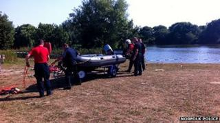 Police search team at UEA Broad
