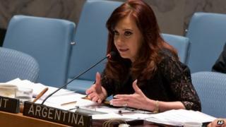 Cristina Fernandez de Kirchner addresses the Security Council