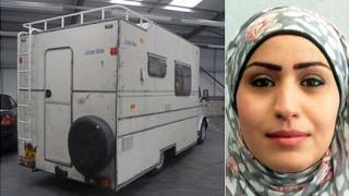White campervan and Rania Alayed