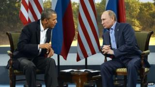 US President Barack Obama and Russian President Vladimir Putin at the G8 meeting in Northern Ireland, 17 June 2013