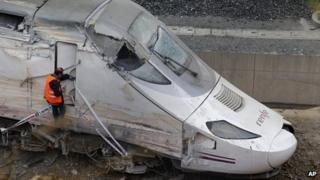 Engine of crashed train. 25 July 2013