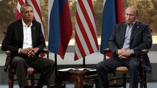 Vladimir Putin, right, and Barack Obama in Northern Ireland, June 2013