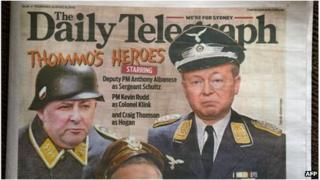 Front page of the Daily Telegraph on 8 August 2013 depicts Australian Prime Minister Kevin Rudd (R) as the bumbling Nazi TV character Colonel Klink