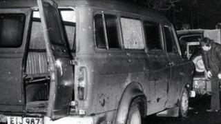 The bullet-riddled minibus at the scene of the attack near Kingsmill in south Armagh