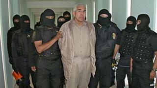 "File picture of former top Mexican drugs cartel boss Rafael Caro Quintero under armed guard at the Puente Grand"" prison in Guadalajara in 2005"