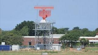 Radar tower at Guernsey Airport, due to be tested in September