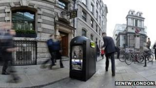Recycling pods in the City of London