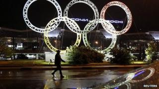 Olympic rings at Sochi airport (file image)