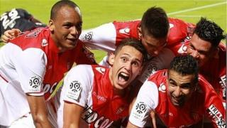 Monaco players celebrate a goal against Bordeaux in their opening Ligue 1 match of the season