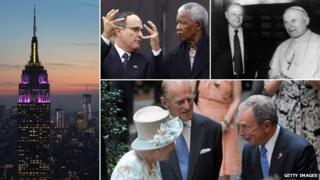 Clockwise from left: Empire State Building, Rudy Giuliani with Nelson Mandela, Ed Koch with Pope John Paul II, Michael Bloomberg with the Queen and Prince Philip