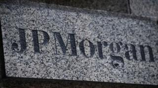 JP Morgan company name in granite