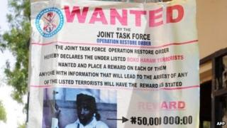 A poster in May showing Boko Haram leader Abubakar Shekau, declared wanted by the Nigerian military - May 2013