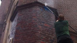 Blue paint was thrown over a pillar at St Malachy's church