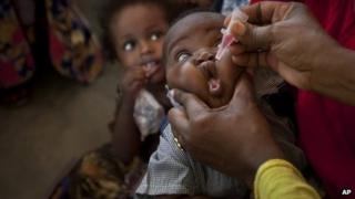 File photo of Somali baby being vaccinated against polio