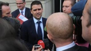 Healy outside court