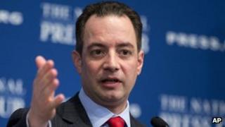Republican National Committee (RNC) Chairman Reince Priebus speaks at the National Press Club in Washington 18 March 2013 file photo