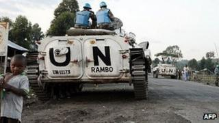 Monusco vehicles in Kagnaruchinya, north of Goma. 2 June 2013