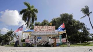 Anti-Castro campaigners in Miami
