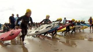Surf life saving race, Cornwall, August 2013