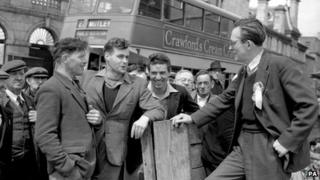 Michael Foot campaigning in Plymouth