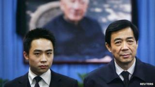 Bo Xilai (R) and his son Bo Guagua stand in front of a picture of his father Bo Yibo at a mourning hall in Beijing in this 18 January 2007 file image