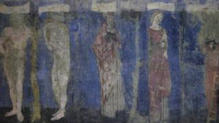 Uncovered mural at William Morris's former home