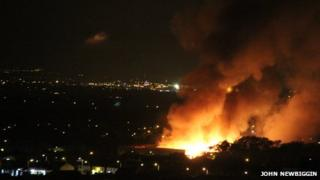 Fire at a recycling plant in Bredbury
