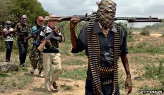 Al-Shabab militiamen on patrol