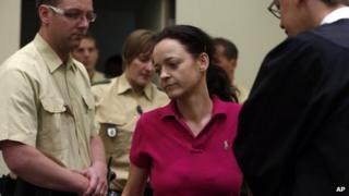 Beate Zschaepe (centre) in court in Munich, 12 Jun 13