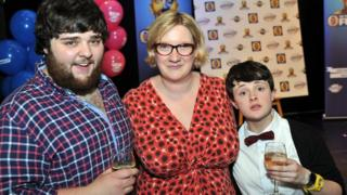 Edd Hedges and Demi Lardner with celebrity judge Sarah Millican