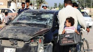 Scene of bomb attack in Baquba. 25 Aug 2013