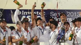 England cricket team celebrate with champagne