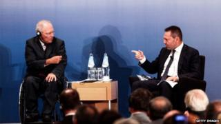 Wolfgang Schaeuble (left) and Yannis Stournaras