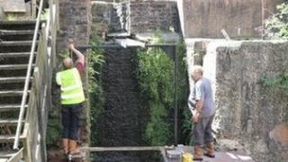 Water wheel being dismantled