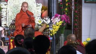 Buddhist monk Ashin Wirathu teaching a class in Mandalay
