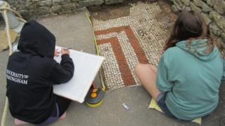 Recording the mosaic beneath a path