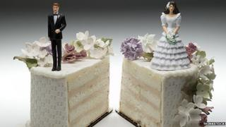 Bride and groom separated on a wedding cake