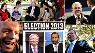 Composite image showing pictures of Kevin Rudd and Tony Abbott