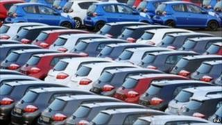 new cars in parking lot