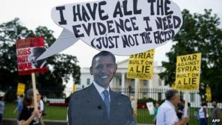 Protesters outside the White House against military intervention in Syria