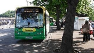 Guernsey buses at St Peter Port terminus