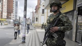 Colombia soldier on a street in Bogota. 30 Aug 2013
