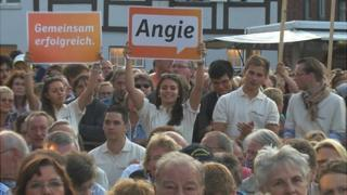 Merkel supporters in Rendsburg