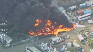 Police helicopter photo of the Gravesend fire