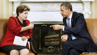 Brazilian President Dilma Rousseff and US President Barack Obama, Washington, April 2012 (file photo)