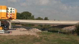 Collapsed concrete beam, which was part of a new bridge on Nottingham's tram network extension