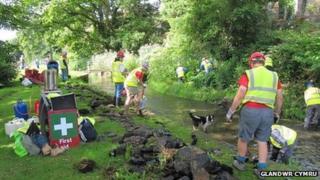 Workers restoring Swansea canal