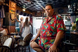 Simon in his Caribbean themed bar on Fuengirola beachfront