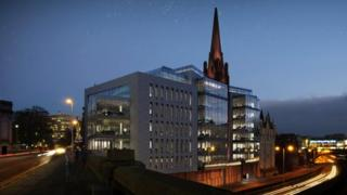 Computer-generated image of the proposed Triple Kirks office development.
