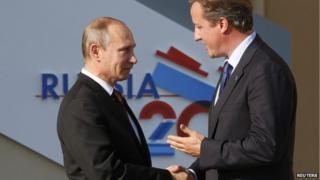 UK PM David Cameron and Russian President Vladimir Putin